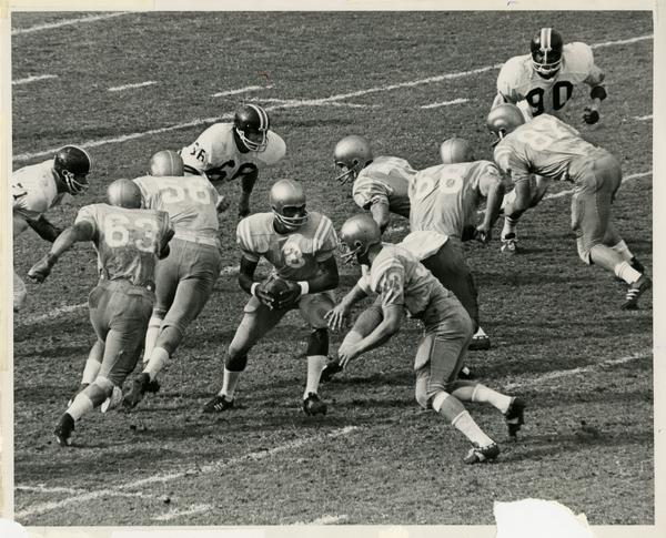 UCLA football player Bill Bolden during a game