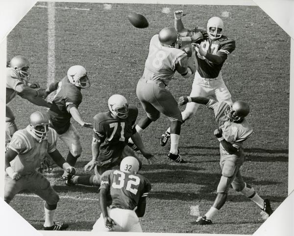 UCLA quarterback Mike Flores in the middle of a game, September 18, 1981