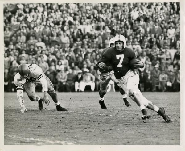UCLA football player Al Hoisch at the Rose Bowl, 1945