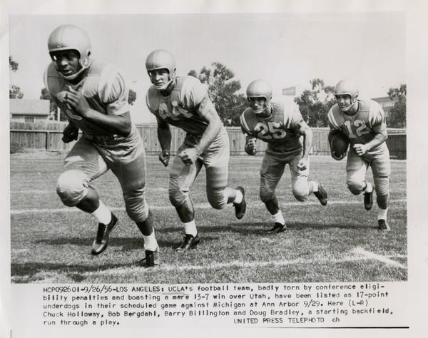 UCLA practicing before their game against Michigan, September 26, 1956