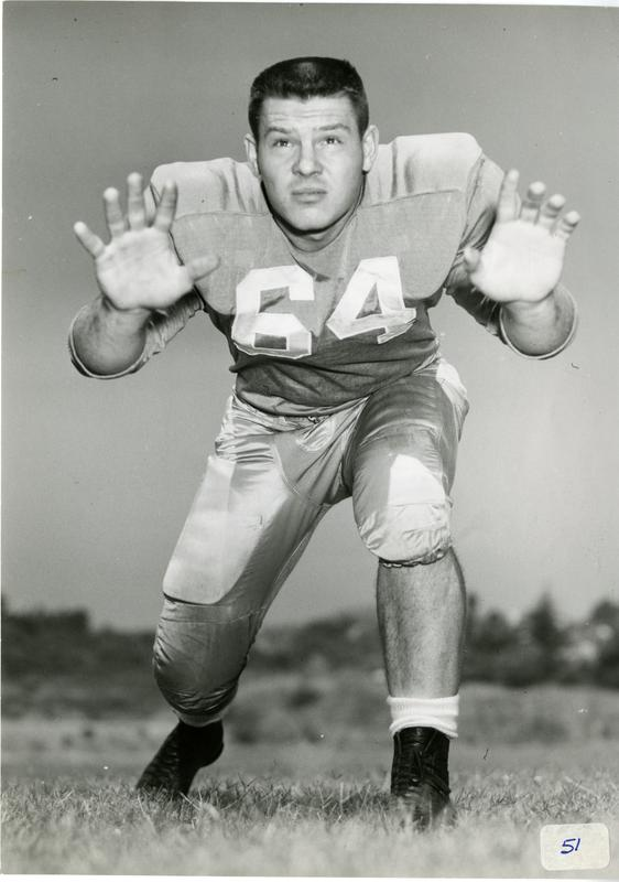 UCLA football player Jim Salsbury on the field, 1953