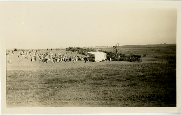 View of stage and crowd attending dedication of new campus, October 1926