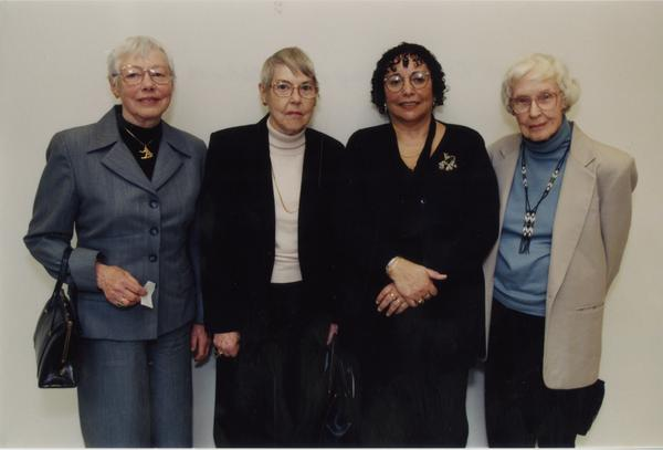 Women gathered with Frances Clarke Sayres during her lecture