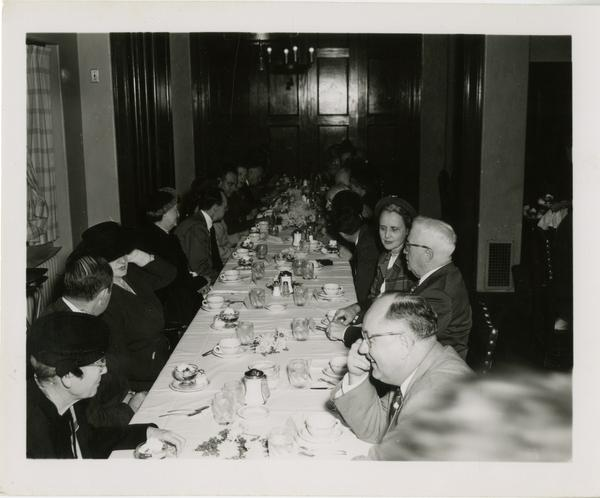 Looking down the table at the Friends of the UCLA Library banquet, November 1951