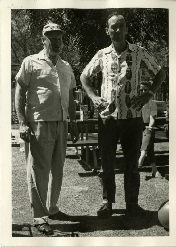 Two unidentified men at the geography department picnic