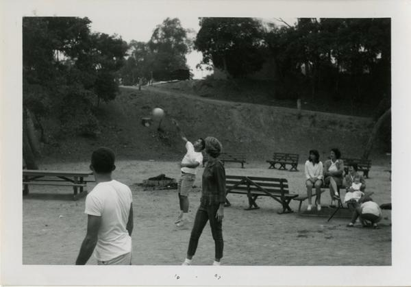 People playing volleyball at the geography department picnic
