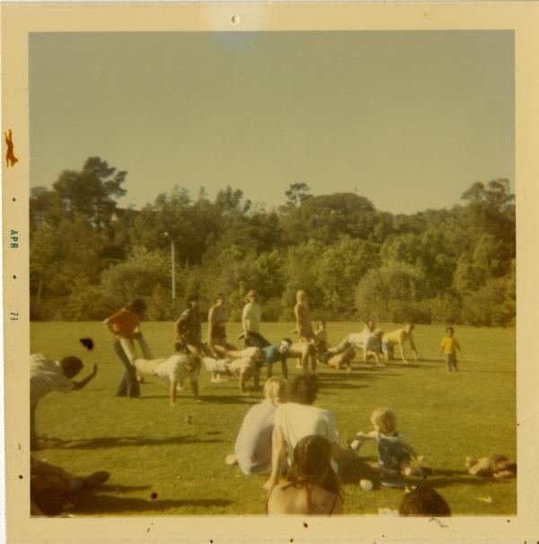 Wheelbarrow races at a geography department picnic