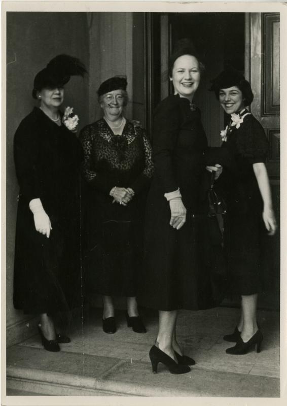 Mrs. Helen Mrs. Laughlin, Mrs. Earle Raymond Hedrick, Mrs. Betty James, and Mr.s Ann Sumner at the Gold Shield Alumnae of UCLA, November, 1937