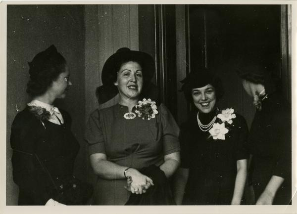Candid photograph of Mrs. Herald Jepson, Mrs. Thomas Manwarring, and Miss Ann Sumner at a Gold Shield Alumnae of UCLA event, November, 1937