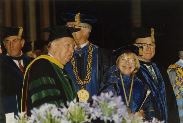Faculty waiting for the PhD Hooding Ceremony, June 1988