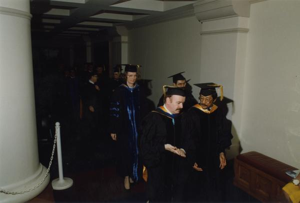 Graduates lining up for the PhD Hooding Ceremony, June 1988