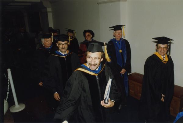 Faculty lined up in preperation for PhD Hooding Ceremony, June 1988
