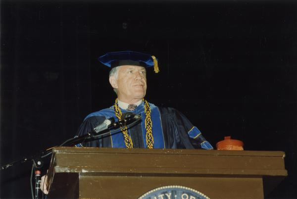 Close up of speaker at PhD Hooding Ceremony, June 1988