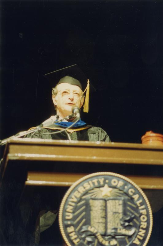 Sidney Finegold at podium during PhD Hooding Ceremony, June 1988