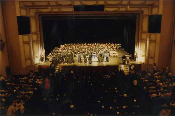 Looking towards stage from balcony during PhD Hooding Ceremony, June 1989