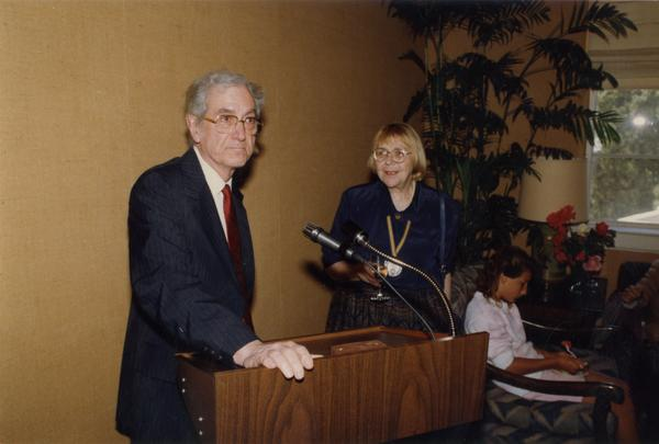 Ruseell O'Neill and Victoria Fromkin at podium at Robing Reception, June 1988