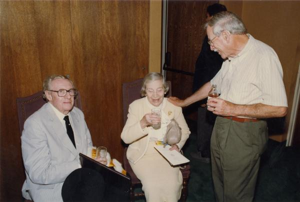 Gardner Miller and Robert Vosper with unidentified woman at Emeriti Reception, June 1988