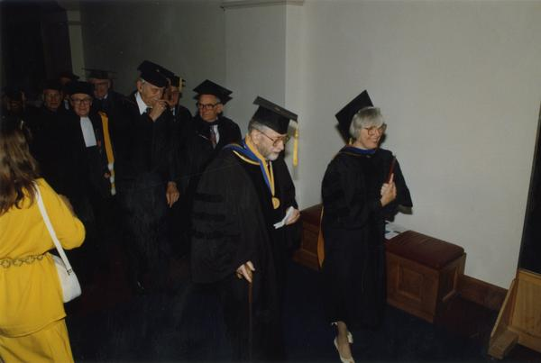 Gardner Miller, Valentine, Marion Zeitlin and Shirley Arora line up in preperation for PhD Hooding Ceremony, June 1988