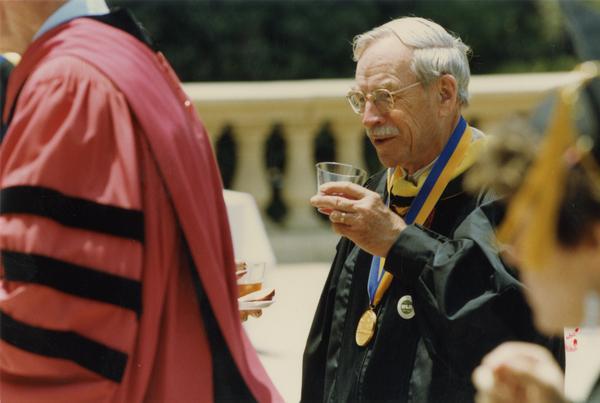Robert Vosper standing outside Royce Hall, June 1988