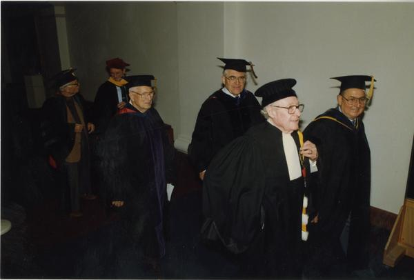 Joseph Gengerelli, JAC Grant, Gardner Miller and others walk in to PhD Hooding Ceremony, June 1988