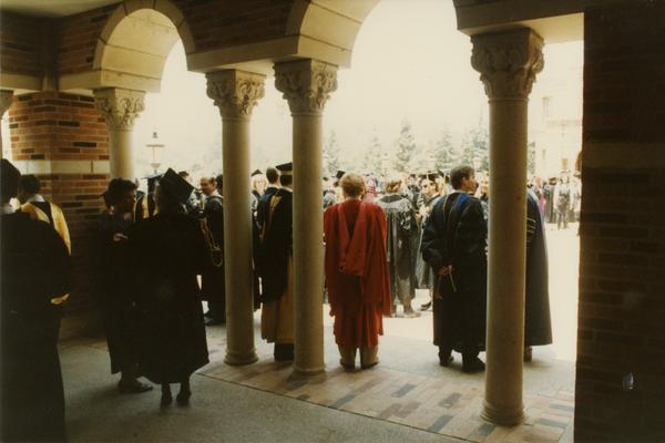 Looking out from under arches to Robing reception, June 1988