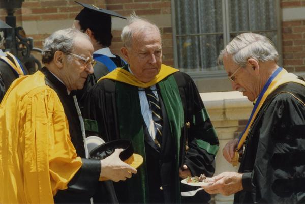 Wolf Leslau, Franklin Murphy and Robert Vosper gather at Robing Reception, June 1988