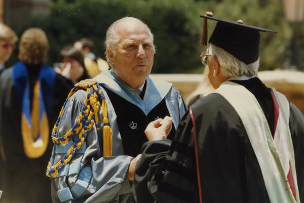 Norman Miller speaks to unidentified man during Robing Reception, June 1988