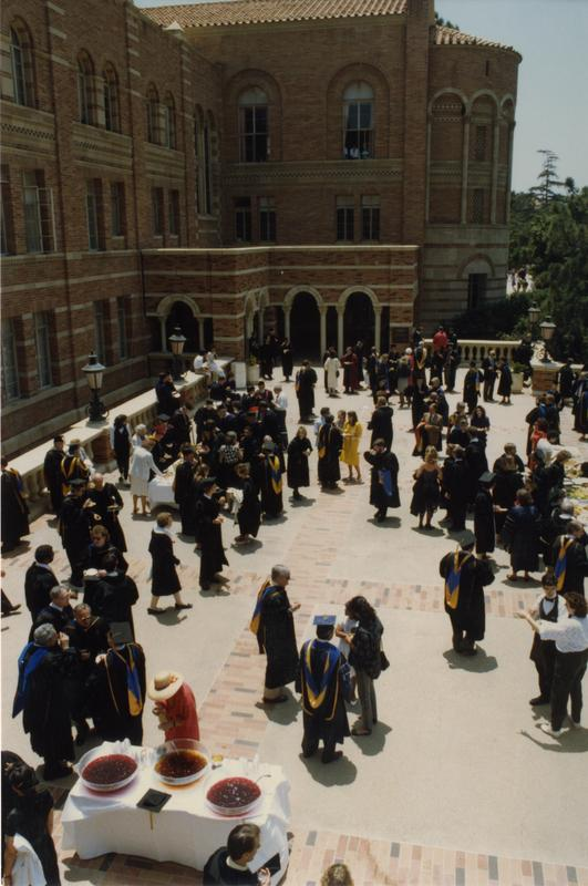 Overhead view of attendees during Robing Reception, June 1988