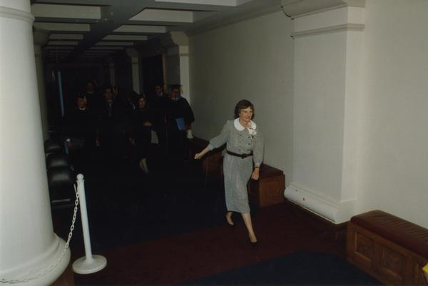 Beverly Liss leading Faculty in line for PhD Hooding Ceremony, June 1988