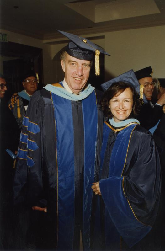 Elwin Svenson, Beatrice Mandel with David Kaplan in the background before PhD Hooding Ceremony, June 1988