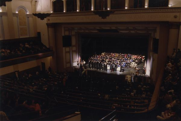 Looking towards stage from balcony during PhD Hooding Ceremony, June 1988