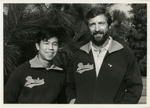 Gymnastics Head Coach Art Shurlock and Assistant Coach Makoto Sakamoto, ca. November 1981
