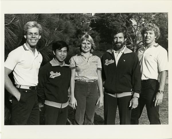 UCLA Women's Assistant Gymnastics Coach, Scott Bull; Men's Assistant Coach, Makoto Sakamoto; Women's Assistant coach, Bonnie Jordan; Men's Head Coach, Art Shurlock and Women's Head Coach Jerry Tomlinson