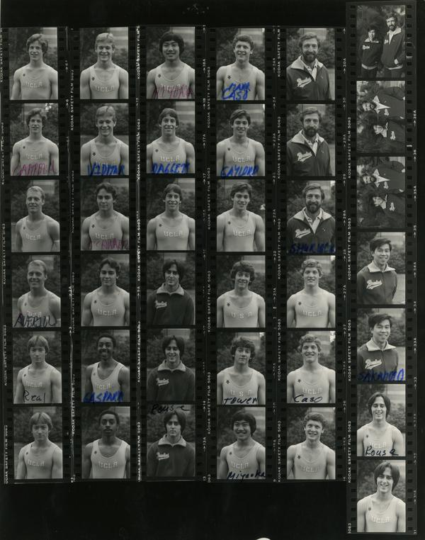 Contact sheet of UCLA Men's Gymnastic team, November 1981