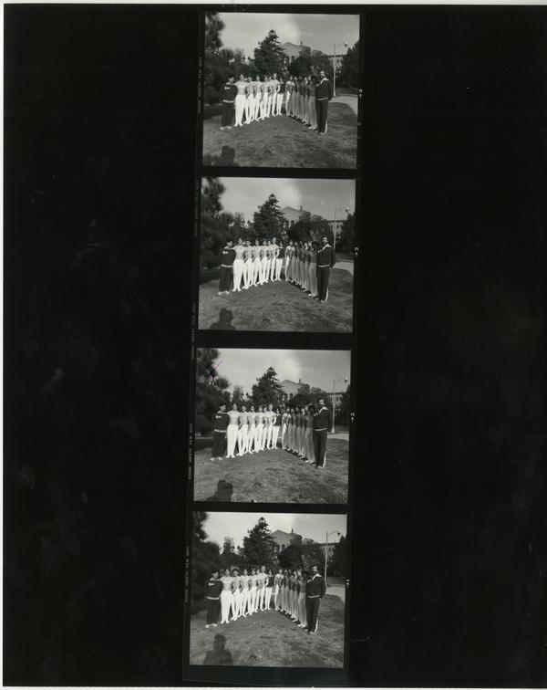 Contact sheet of UCLA Men's Gymnastic team, November 1981