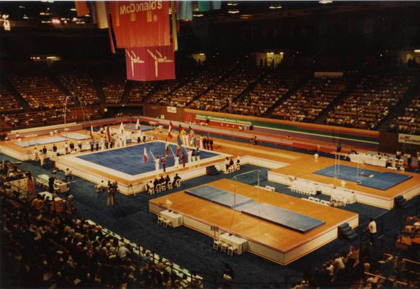 Overview of gymnastics competition floor for McDonald's Invitational