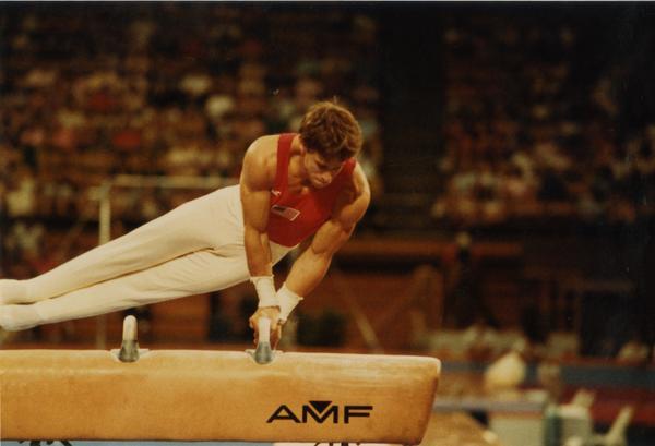 UCLA Gymnast Tim Daggett on the pommel horse