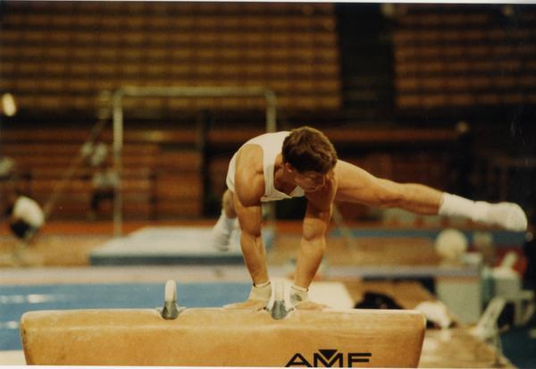 UCLA Gymnast Tim Daggett on pommel horse