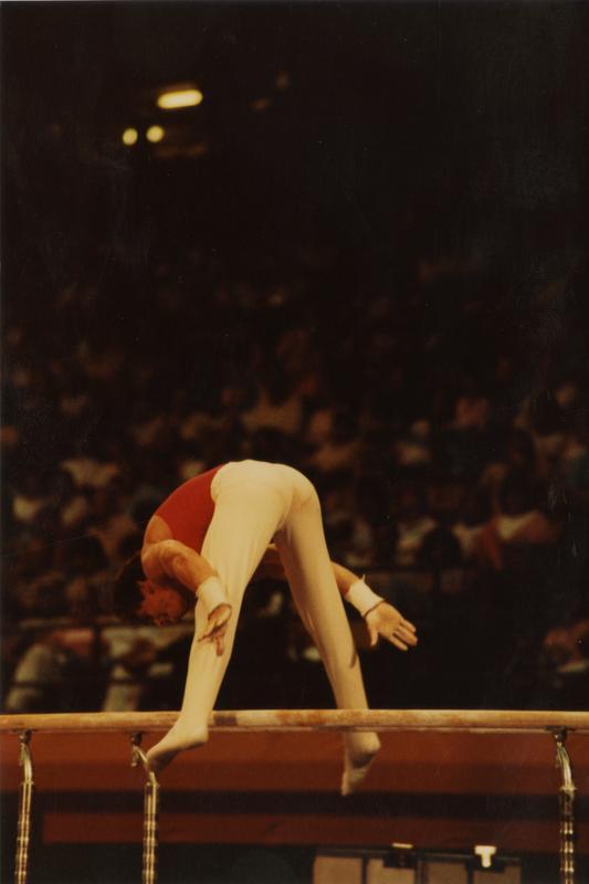 UCLA Gymnast Tim Daggett on parallel bars