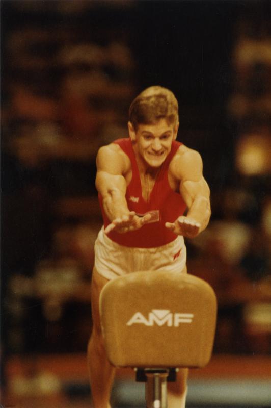 UCLA gymnast Peter Vidmar on pommel horse without handles