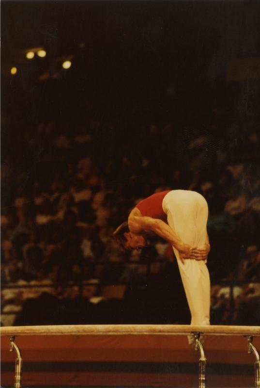 UCLA gymnast Peter Vidmar on parallel bars