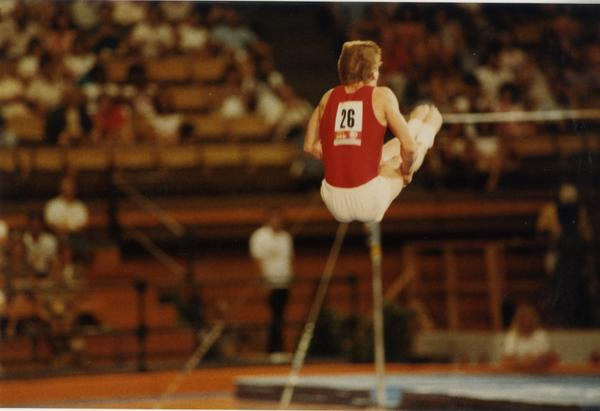 UCLA gymnast Peter Vidmar performing