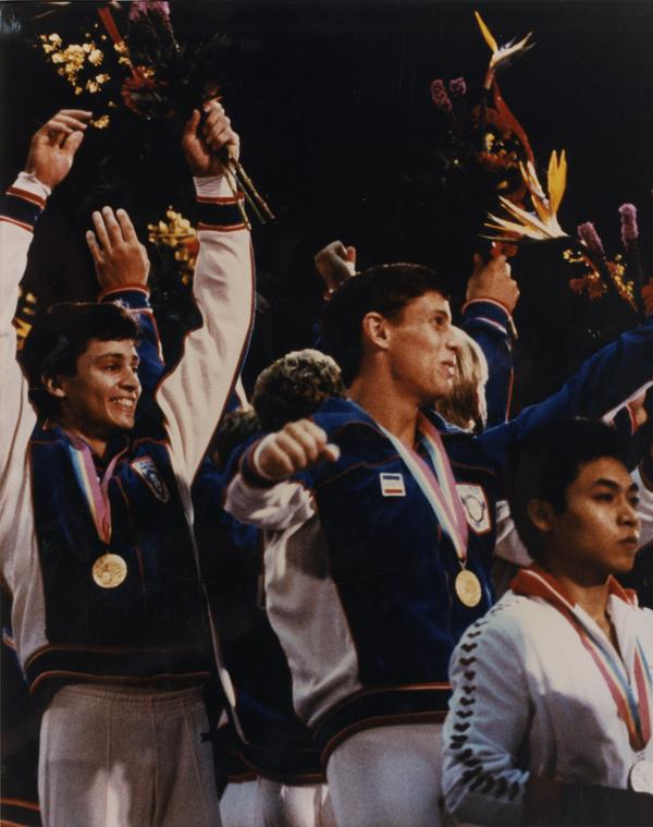 UCLA gymnast gold medal winners Mitch Gaylord and Tim Daggett at 1984 Olympic competition