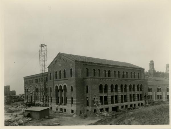 View of Haines Hall during construction
