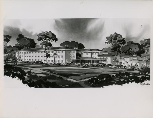 Rendering of Hershey Hall addition, 1956
