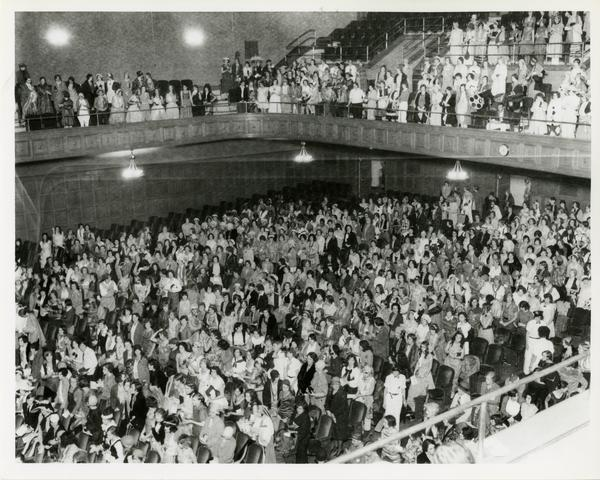 View of audience in theater in Royce Hall, ca. 1930