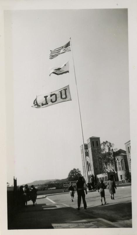 View of flag pole with UCLA flag, ca. 1942