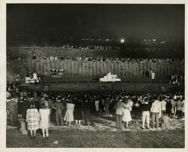 Students gathering for Homecoming celebration in Greek Theatre, 1941