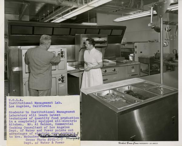View of Institutional Management Lab with director, Mrs. McGucken and cooking consultant, Al Salmon