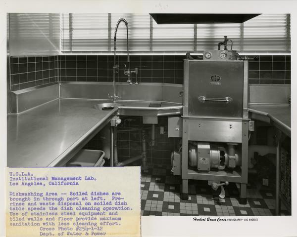 Dishwashing area of Institutional Management Lab